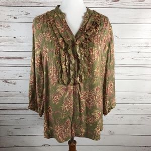 Damask 3/4 Sleeve Ruffle Tunic Top